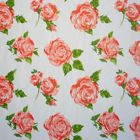 Beautiful Coral Cottage Rose Floral Tissue Paper Gift Wrapping 20x30 Sheets Free Shipping!