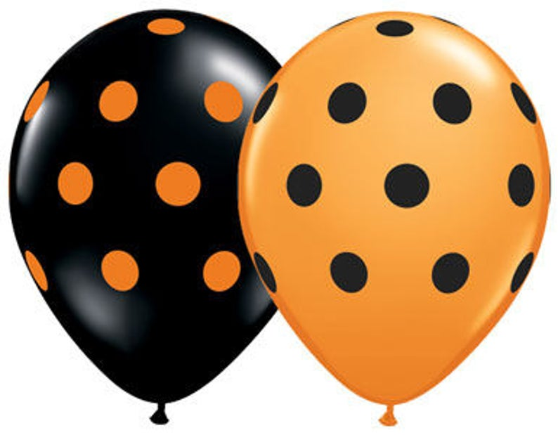 Your Choice of Quantity with Free Shipping! Orange and Black Polka Dot 11 Latex Helium Balloons