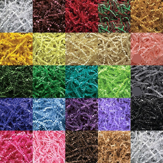 8oz. Gift Basket Shred, Crinkle Paper Grass Filler (30 COLORS!) 1/2lb. (Free Shipping!)