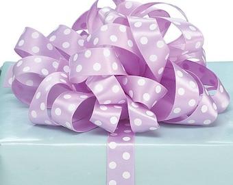 "5YDS x 5/8"" Lavender Purple and White Polka Dot Satin Ribbon (FREE SHIPPING!)"