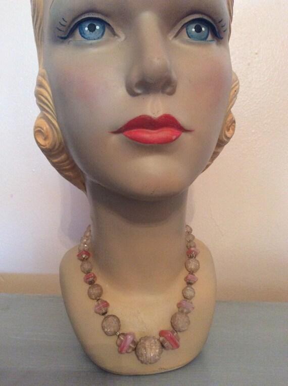 vintage celluloid pink choker necklace Art Deco 30