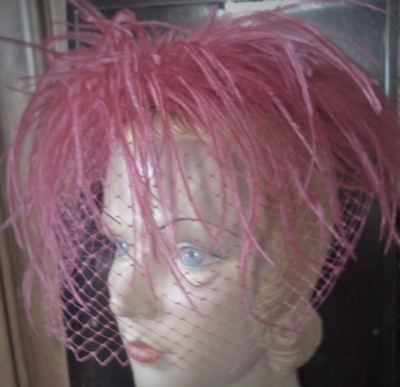 vintage 1950s hot pink ostrich fascinator hat veil