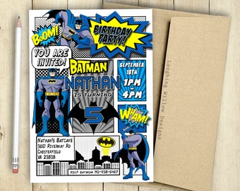 Batman Invitation Birthday Party Comic Book Customized Superhero PRINTABLE