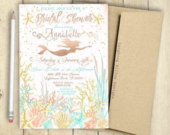 mermaid bridal shower invitation bridal party bridal shower printable customized lingerie shower watercolor chic bride to be
