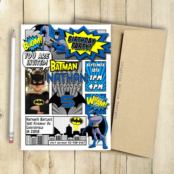 Batman Invitation With Photo Birthday Party Comic Book