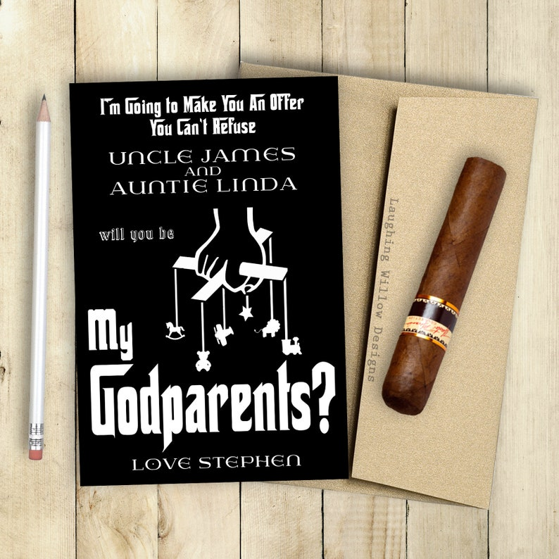 eb3542ac64fcc SALE Godparents Card Will You Be My Godparents Will You Be My Godfather  Godmother Card PRINTABLE Godfather Card Offer You Can't Refuse