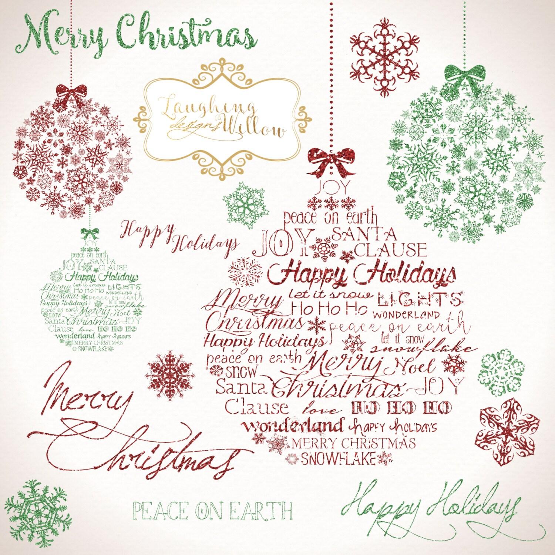Christmas Clipart PRINTABLE DOWNLOAD Digital Art Graphics