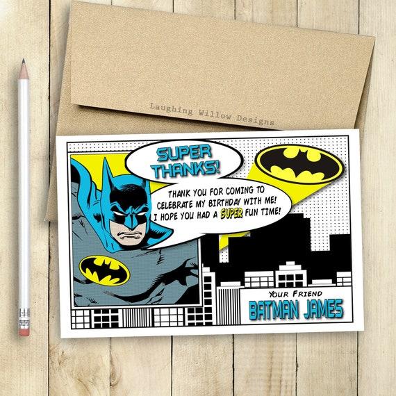 Batman Gracias Tarjeta Batman Invitación Batman Cumpleaños Fiesta Cómic Libro De Cómics Personalizado Superhéroe Invitación Imprimible