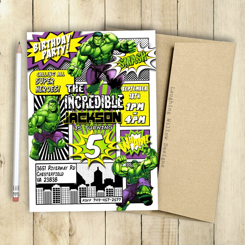 Incredible Hulk Invitation Birthday Party