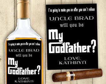 GODFATHER Label Whiskey Label Rum Label Beer Label Card Will You Be My Godfather Card PRINTABLE Godfather Cards Offer You Can't Refuse