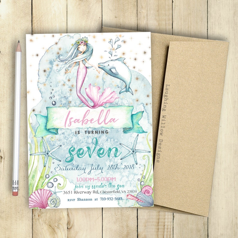 Mermaid Invitation Party Package Mermaid Printable Mermaid Etsy