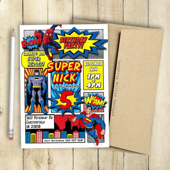 Superhero Invitation Batman Superman