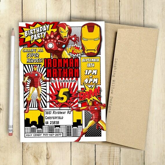 Ironman Invitation Incredible Birthday Party Comic