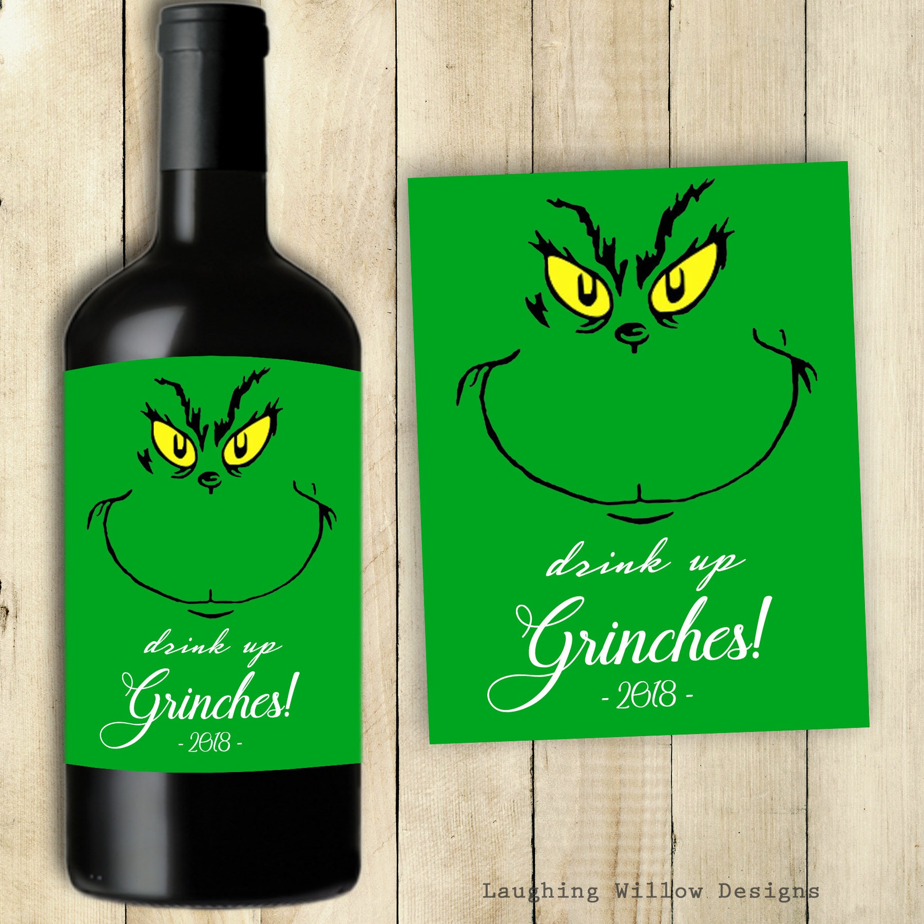 Grinch Wine Label Drink Up Grinches Merry Christmas Grinch