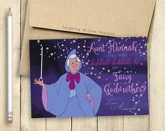 Godmother Fairy Godmother Card Will You be my Godmother Card PRINTABLE Bibbidi Bobbidi Be My Fairy Godmother