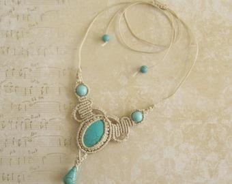Turquoise Macrame Necklace - Micromacrame Necklace Micro-macrame