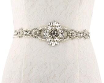 Long Wonderful Pearl Rhinestone Wedding Sash