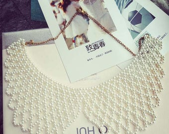 White Bead Pearl Collar Necklace/ Girl collar / Pearl Collar Necklace/ Detachable collar