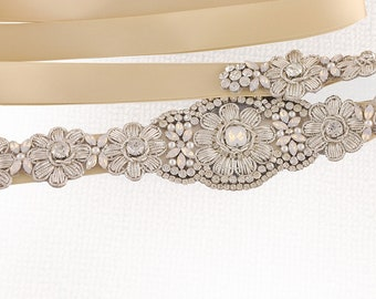 Floral Embroidered Crystal Rhinestone Beaded Wedding Sash Bridal Sash
