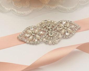 Girl Vintage Diamond Rhinestone Bridal Sash/ Embellish Sash / Wedding Sash/Crystal Bridesmaids sash