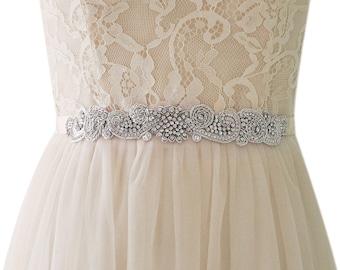Silver Thread Embroidered Crystal Rhinestone Beaded Wedding Sash Bridal Sash