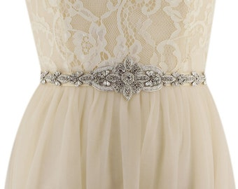 Embroidered Crystal Rhinestone Beaded Wedding Sash Bridal Sash