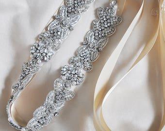 Heavy Embroidered Crystal Rhinestone Beaded Bridal Sash Wedding Sash