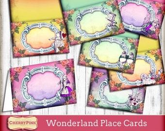 Alice im Wunderland Tischkarten, Visitenkarte, gefaltete Karten, Tea-Party-Dekorationen, druckbare Dekor, party Zubehör, Hutmacher druckbare