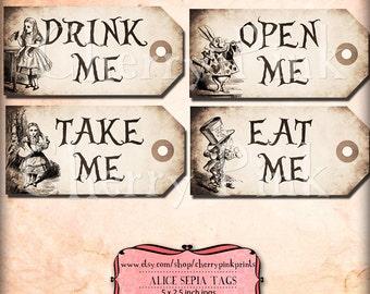Alice In Wonderland Popcorn Box Party Decoration Printable Etsy
