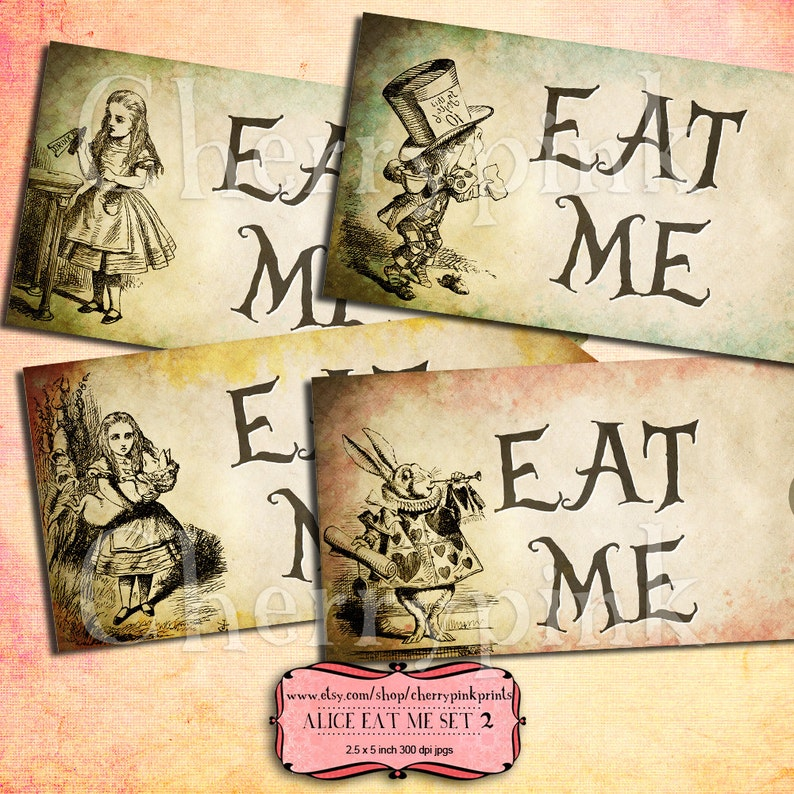 labels Alice Vintage Tags presents and invitations. EAT ME Set 2 Alice in Wonderland Tags perfect for parties