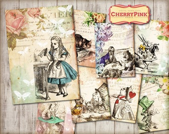 ALICE in WONDERLAND tags - decorations - Alice tags - digital party supplies - craft - Wonderland collage sheet printable - instant download