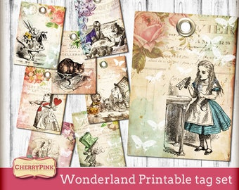 ALICE in WONDERLAND PRINTABLE tags, tea party tags, digital party supplies decorations, Wonderland collage sheet printable