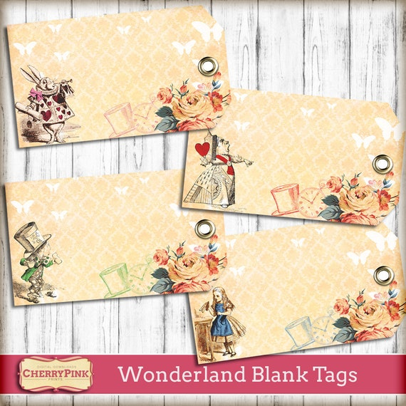 graphic relating to Blank Tags Printable referred to as Alice in just Wonderland tags - blank Tags - printable - wedding day decoration - label - Wonderland occasion - printables