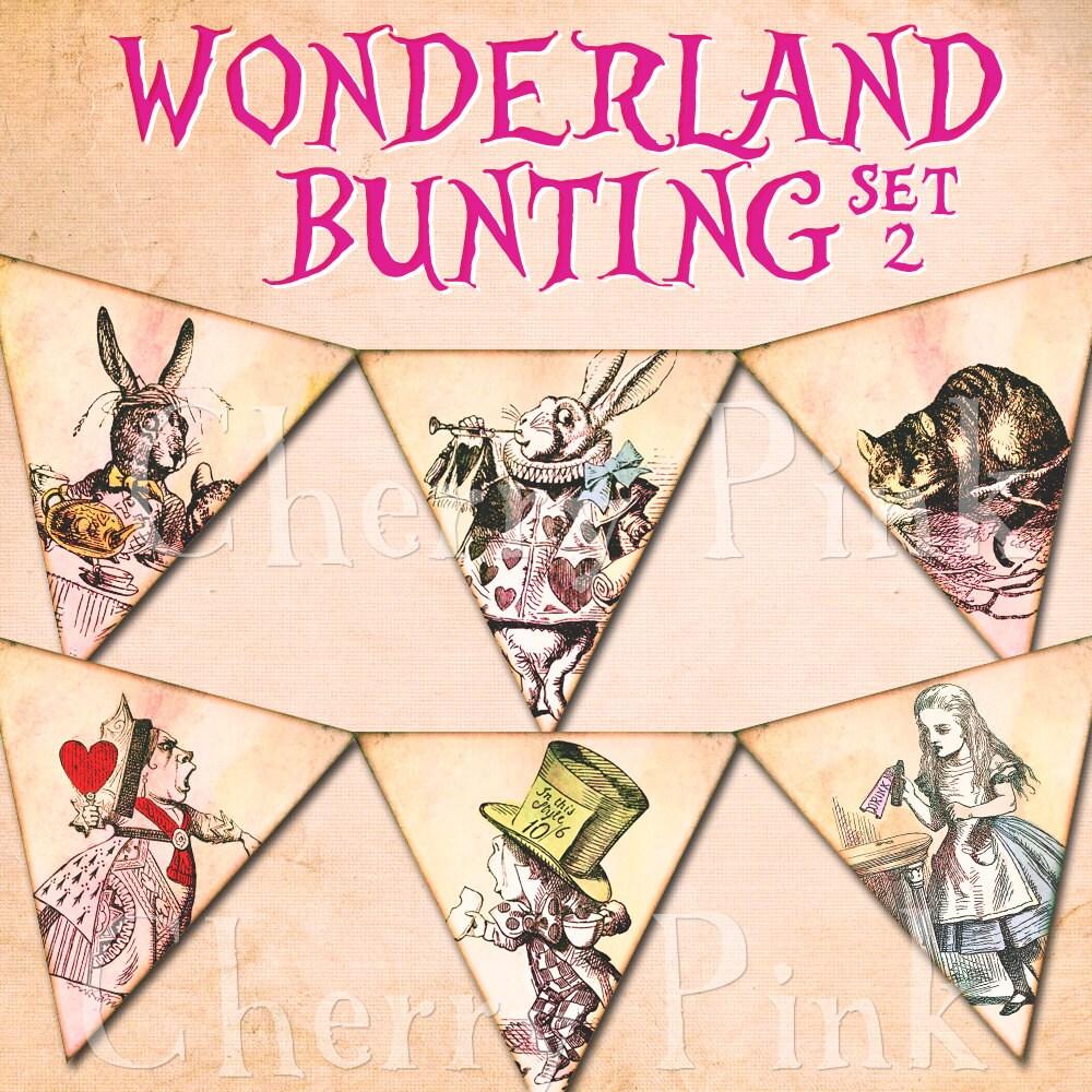 Alice In Wonderland Bunting Set 2 Alice Decoration Printable Etsy