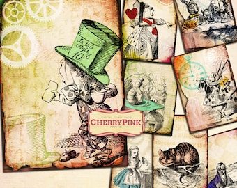 ALICE in WONDERLAND Digital collage Sheet, steampunk digital download Wonderland party printable