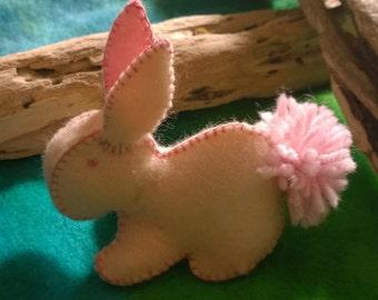 Bunny Rabbit  in Pale Pink Felt