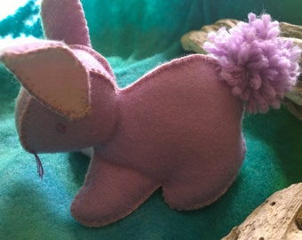 Bunny  Rabbit in Lilac Felt with pink contrast