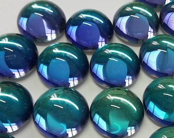 6 glass cabochons, Ø12mm, aqua blue purple, round