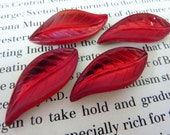 4 glass cabochons, leaf, 28x12mm, red