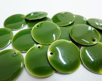 4 enamel pendants, coins, Ø18mm, green, round