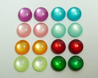 20 acrylic cabochons, Ø8mm, silky mix