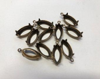 6 prong settings, 15x7mm, navette, 1 ring, bronze
