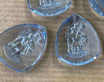 2 glass pendants, 22x18mm, light blue, St. Christopher, triangle