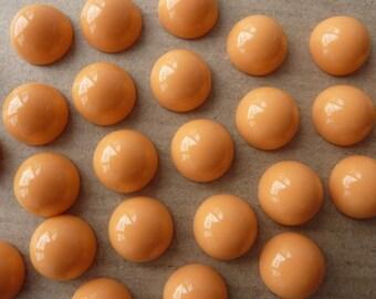 20 acrylic cabochons, Ø12mm, orange