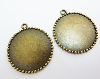 4 cabochon bezel settings, Ø25mm, bronze