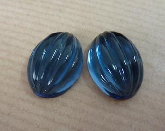 2 glass cabochons, 18x13mm, midnight blue, melon, oval