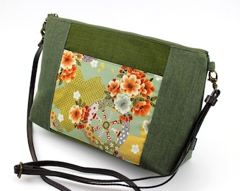 9abdf8237 cross body handbag, adjustable strap bag, shoulder bag, kimono bag, Green  Cherry Blossoms