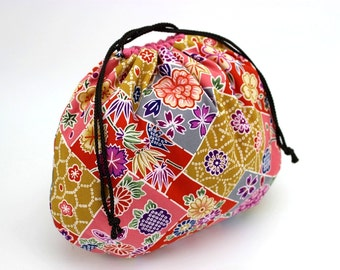 Cotton Fabric Drawstring Bag, Bridesmaids Gift, Japanese Kimono Pouch, Colorful Flowers Pink