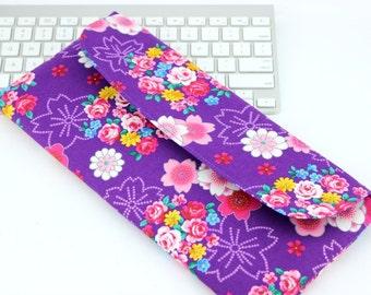 SALE Geeky Gift Idea, Apple Wireless Keyboard Case,Gift For Her, Kimono Fabrics, Flowers Purple