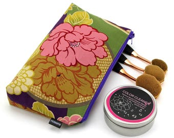 cosmetic pouch, cosmetic bag, makeup pouch, zipper pouch, cosmetic case,Peony